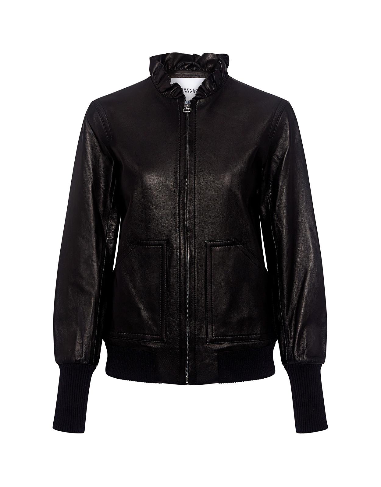 Ruffled Collar Leather Bomber Jacket Black