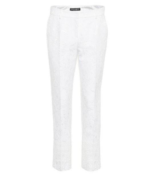 Dolce & Gabbana cropped jacquard white pants