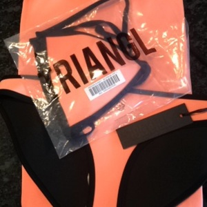 Tangerine triangle neoprene bikini ❤ tattoosocks ❤