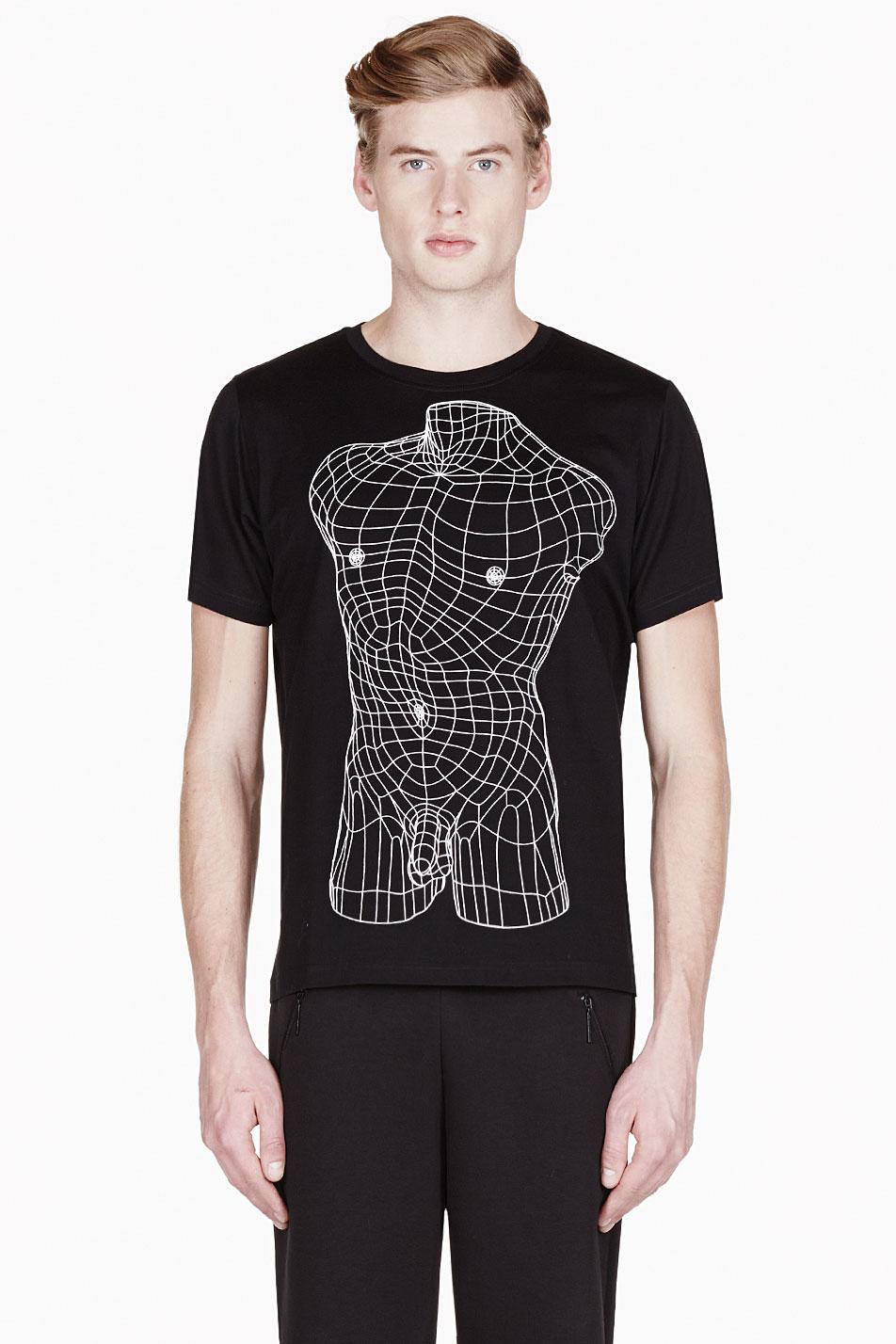 christopher kane black geometric male nude print t_shirt