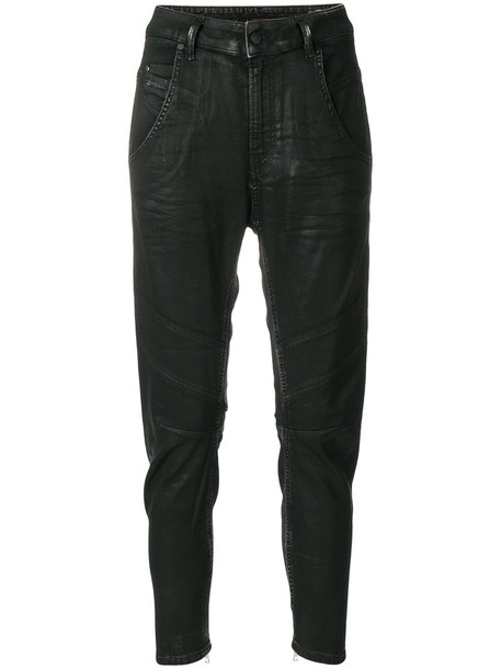 Diesel jeans women spandex leather cotton black