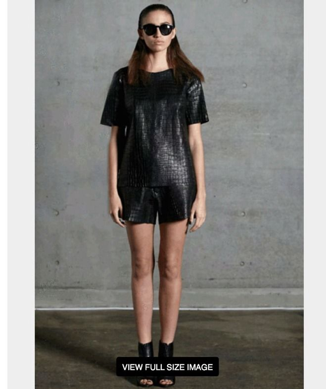 Kahlo Realm Tee Black Croc Leather Size XS RRP $579 New with Tag | eBay