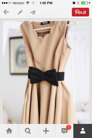 dress beige dress belt black bow