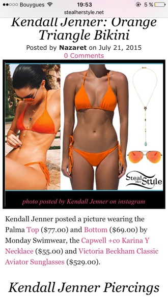 swimwear orange orange swimwear bikini orange bikini kendall jenner swimwear two piece