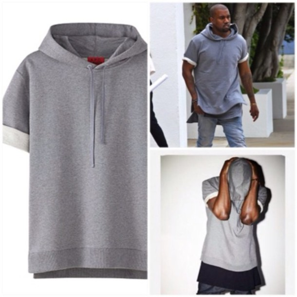 Sweater: grey short sleeve hoodie - Wheretoget