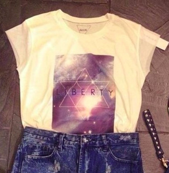 t-shirt hype rock hipster galaxy print jewish star nebula brand triangle