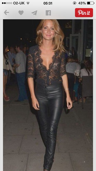 blouse simple all black everything leather pants lace blouse hot classy elegant laid back biker chick bad ass millie mackintosh