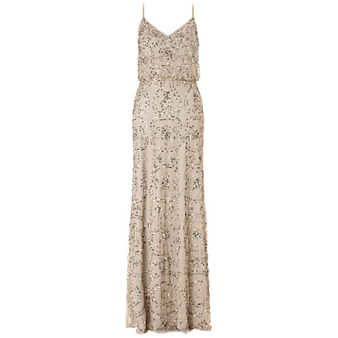 Adrianna Papell Beaded Maxi Dress, Nude online at John Lewis