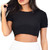 Glamorous Black Ribbed Short Sleeve Crop Top | Emprada