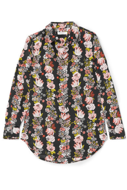 shirt floral print black silk top