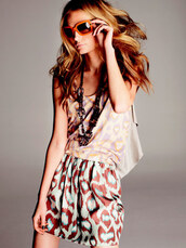 dress,blue,brown,sunglasses,jewelry,leopard print,colorful,tank top