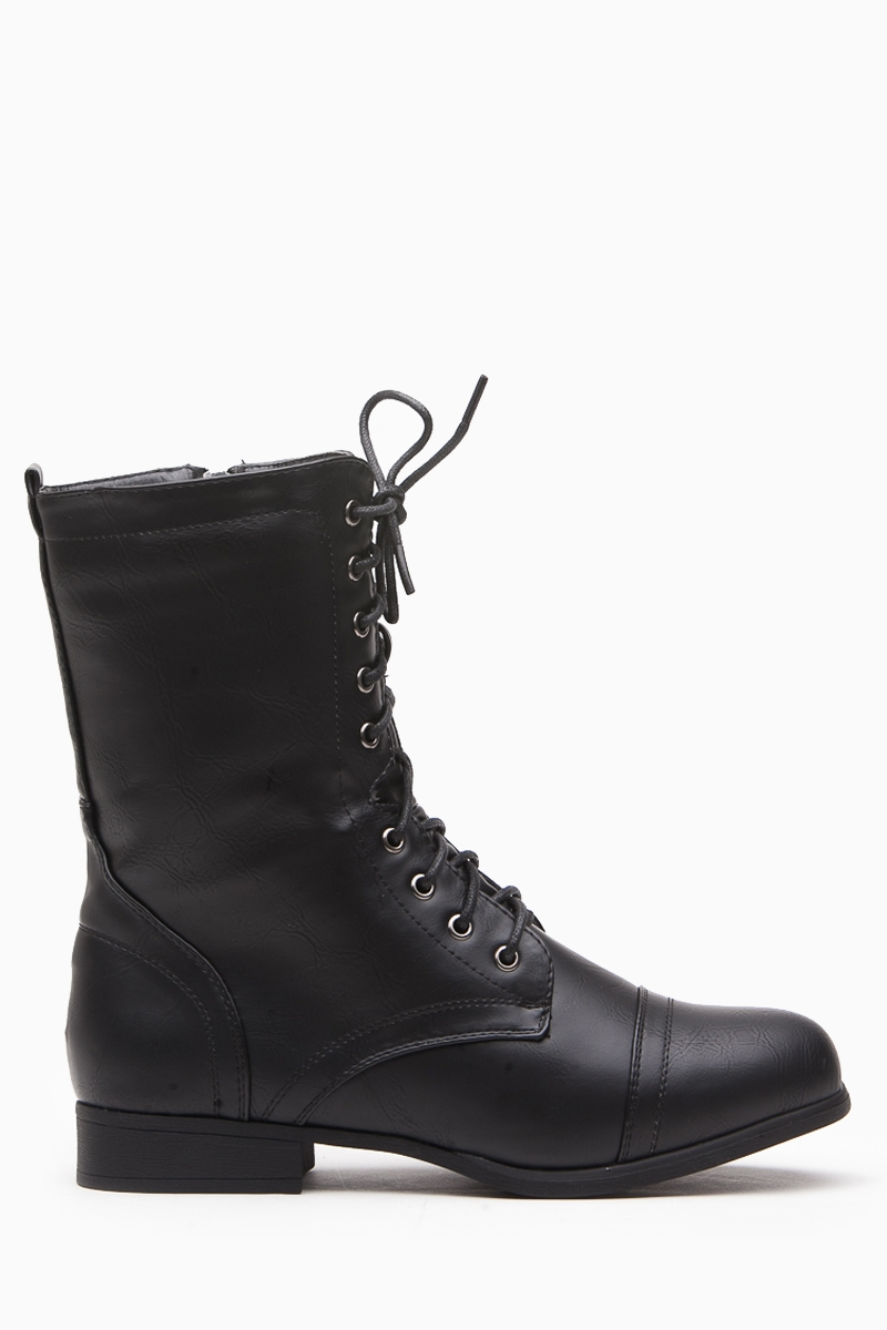 black faux leather lace up combat boots cicihot boots