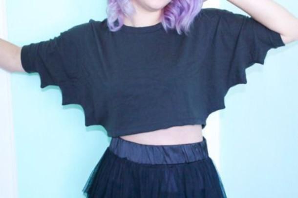 sweater black short sweater bat wing sleeves goth