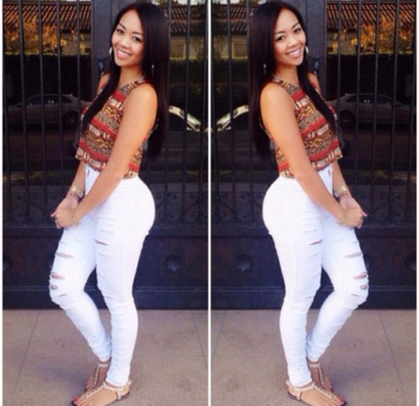 blouse aztec high waisted jeans white sandels cute ripped jeans style skinny pants skinny jeans ripped jeans crop tank tops classy pants shoes