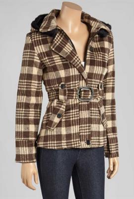 Urban heritage tartan plaid belted jacket in brown