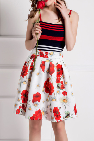 dress cute red white black girly fashion style floral trendy summer spring stripes dezzal feminine striped top floral skirt