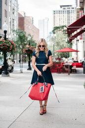 bag,shoes,sunglasses,bows&sequins,blogger,dress,belt,tote bag,red bag,sandals,high heel sandals,blue dress,summer outfits