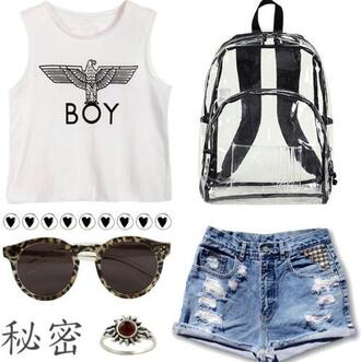 bag backpack plastic outfit top ripped shorts ring indie sunglasses transparent  bag