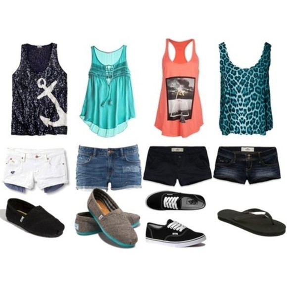 tank top shorts tumblr tumblr outfit tumblr clothes shoes anchor anchor shirt leopard print leopard print top toms keds flip-flops summer outfits