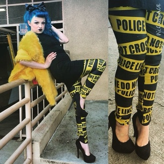 leggings pants trendy cool black pants yellow style jeans