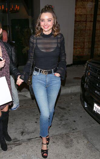 top mesh mesh top turtleneck jeans sandals miranda kerr model off-duty
