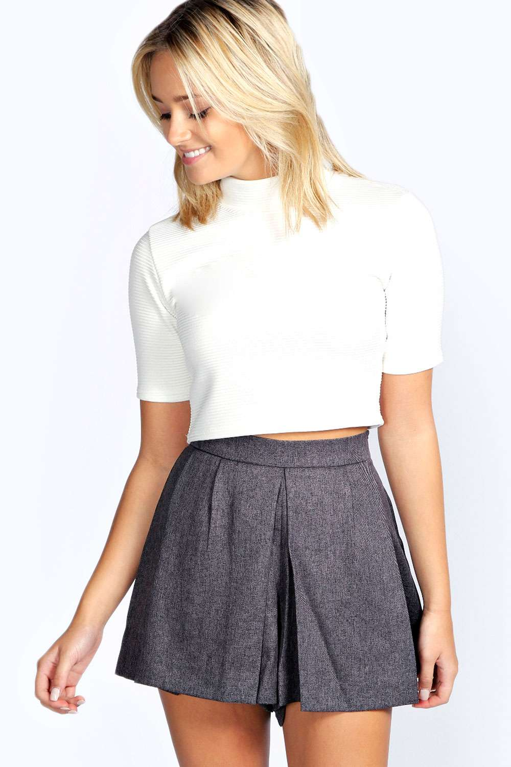 Addie Pleat Front Woven Flecked City Shorts