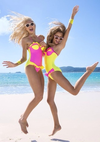 swimwear pink yellow one piece swimsuit one piece matching swimsuit tumblr tumblr famous beach ruffled swimsuit mayo pink yellow fabulous neon bff summer summer holidays girly match neon pink colorblock neon yellow yellow swimwear pink swimwear