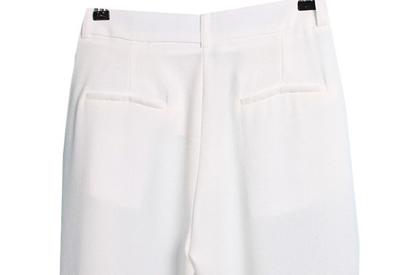 White Pockets Loose Crop Pant - Sheinside.com