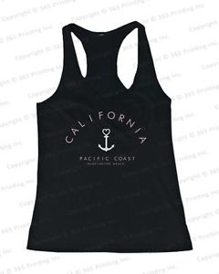 Women's Tank Tops California Pacific Coast Huntington Beach Anchor Tanks Ver 2 | eBay