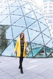 andy sparkles,blogger,coat,dress,bag,shoes,yellow coat,winter outfits,black dress,ankle boots,handbag,grey bag