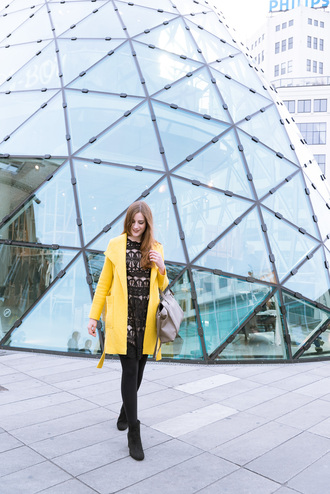 andy sparkles blogger coat dress bag shoes yellow coat winter outfits black dress ankle boots handbag grey bag