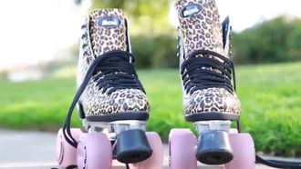 shoes leopard shoes ankle boots leopard print roller skates
