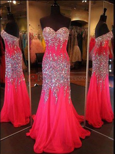 Red Mermaid/Trumpet Sweetheart Crystal Rhinestone Sleeveless Chiffon Dresses for Cheap
