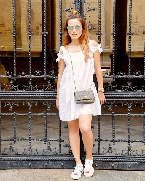 shoes gucci ace sneakers gucci gucci shoes sneakers white sneakers low top sneakers white dress dress mini dress summer dress summer outfits cut out shoulder cut-out bag grey bag chanel chanel bag crossbody bag sunglasses mirrored sunglasses silver sunglasses
