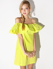 dress,yellow,cute,summer,off the shoulder,shift dress,cute dress,yellow dress,off the shoulder dress,ruffle dress,korean fashion,korean trends,korean style,nanda style,ootd,daily look,daily find,pixie market,pixie market girl,pixie girl