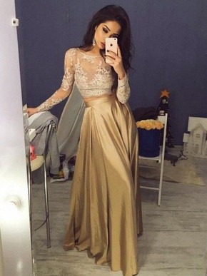 Amazing Gold A-line Satin Scoop Neck Long Sleeves Prom Dress - dressesofgirl.com