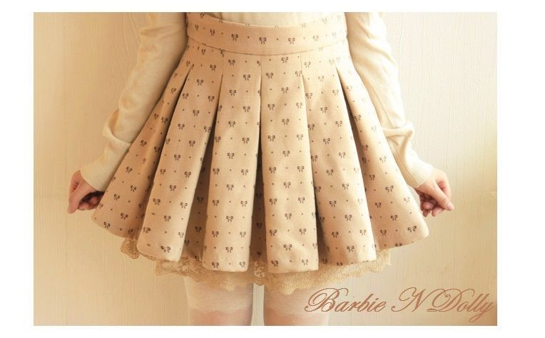 Autumn and Winter Sweet Bowknot Printed Woolen High Waisted Pleated Retro Skirt
