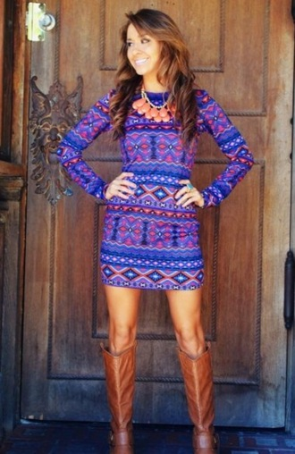 dress tribal pattern dress purple dress bright colored long sleeve dress bodycon dress