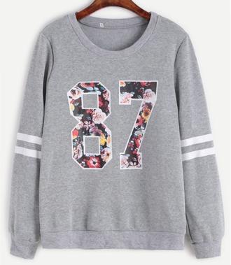 sweater girl girly girly wishlist floral sweatshirt grey varsity grey sweater printed sweater print crewneck
