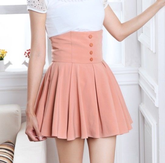 New Lady Cute Elegant High Waisted Pleated Mini Short Skirt s M L XL Pink Black | eBay