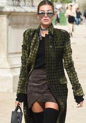 coat,tumblr,green coat,printed coat,top,black top,skirt,mini skirt,wrap skirt,suede skirt,over the knee boots,sunglasses,mirrored sunglasses,aviator sunglasses,silver sunglasses,hailey baldwin,celebrity style,celebrity