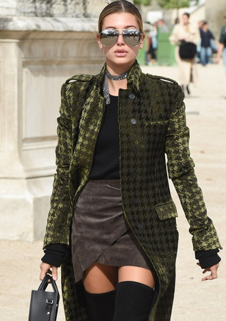 coat tumblr green coat printed coat top black top skirt mini skirt wrap skirt suede skirt over the knee boots sunglasses mirrored sunglasses aviator sunglasses silver sunglasses hailey baldwin celebrity style celebrity