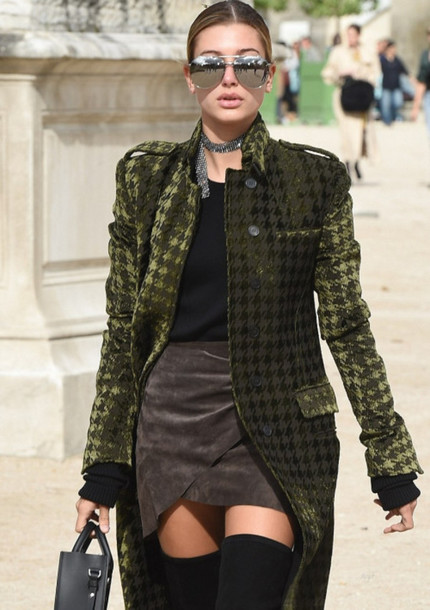 067e023b310 coat tumblr green coat printed coat top black top skirt mini skirt wrap skirt  suede skirt