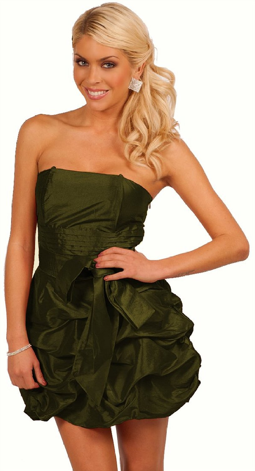 Amazon.com: strapless pleated bow decor pick up style bubble skirt evening party mini dress: clothing