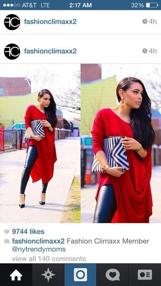 dress red midi high low classy
