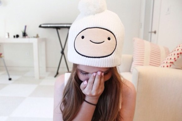 white hat hat white adventure time finn finn the human smiley beanie