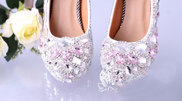 shoes crystal shoes wedding shoes
