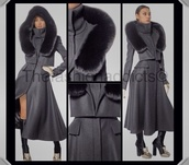 jacket,grey,coat,trench coat,fur collar,fashion,high end
