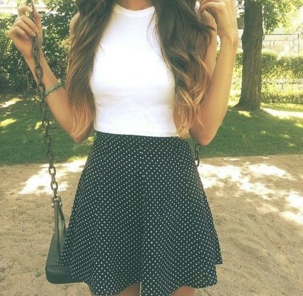 skirt shirt polka dots tumblr