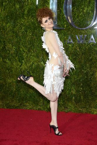 dress kiesza white dress mules tony awards cut-out